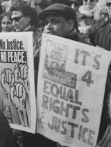 No justice, no peace sign