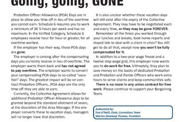 OPS Corrections Issue Sheet #2 - Probation Officer Allowance Days: Going, going, GONE