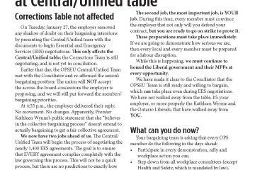 OPS Table Talk 2014 Issue 6 - Essential Service bargaining begins at Central/Unified table
