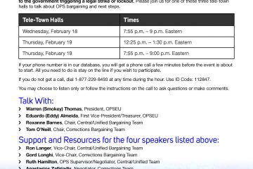 OPS Bargaining Telephone Town Halls Feb. 18 and 19