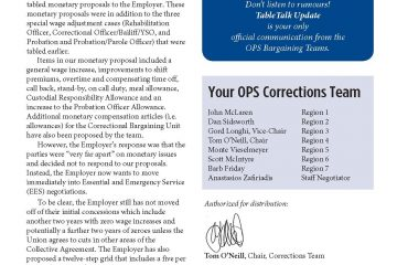 OPS Table Talk 2015 Issue 8 - Corrections officially begins EES negotiations