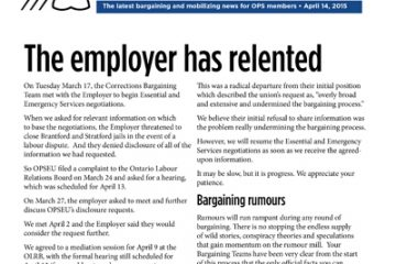 OPS Table Talk 2015 Issue 14 - The employer has relented