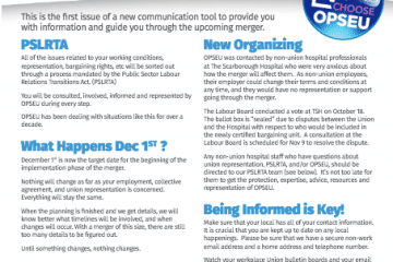 News for Members of OPSEU Locals 311, 348, 575, and 581
