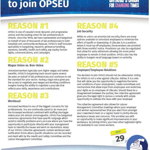 Top 5 reasons to join OPSEU flyer