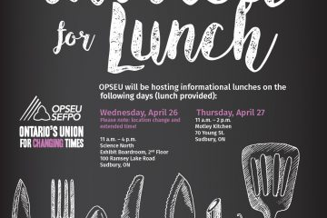 Updated - OPSEU to host info lunches: you're invited!