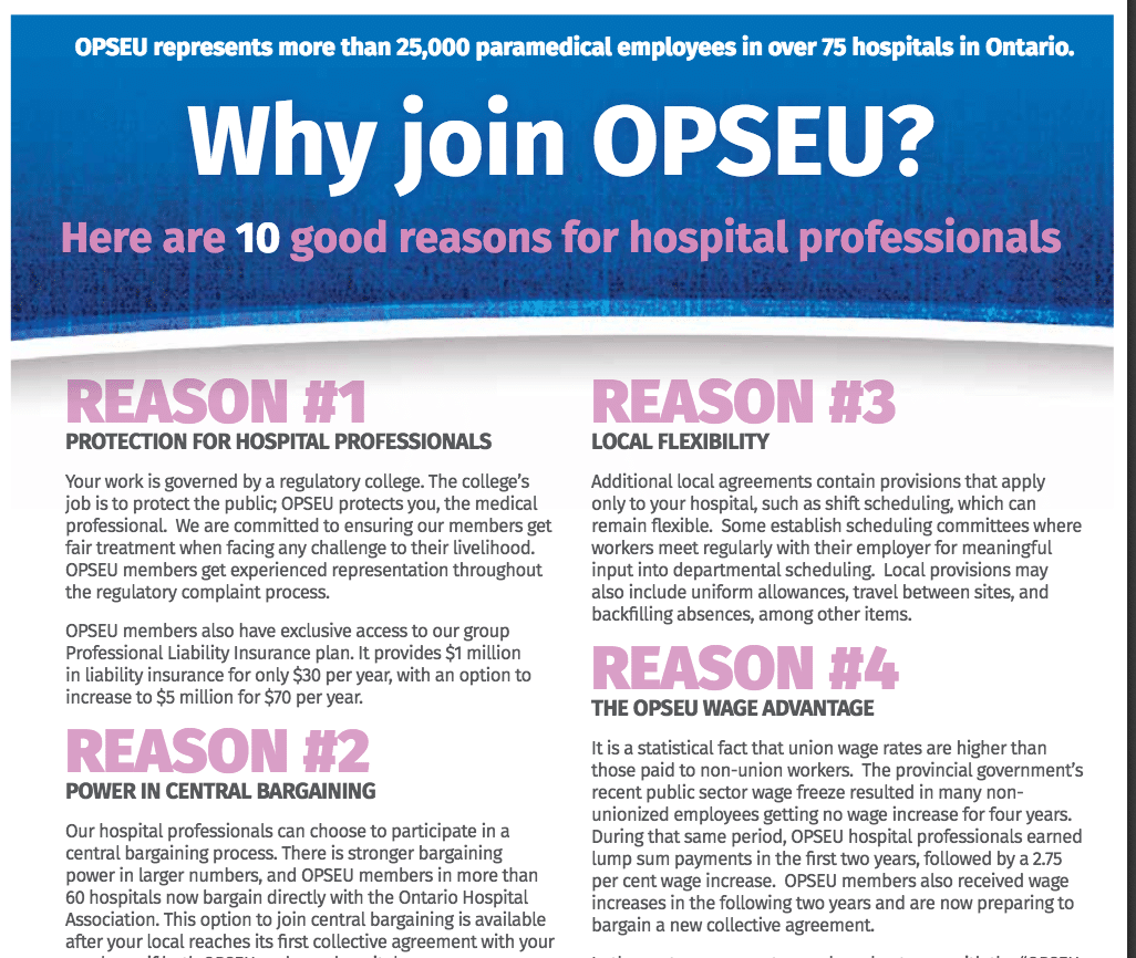 Why join OPSEU? Here are 10 good reasons for hospital professionals