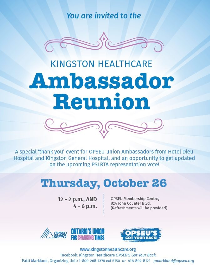 A blue-and-pink poster advertising the Kingston Health Care Ambassador Reunion.