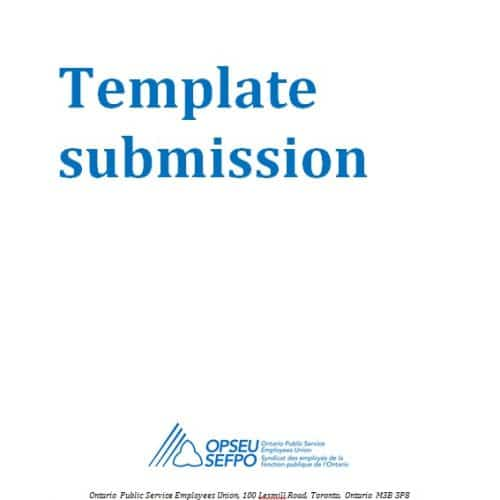 """Title page that reads: """"Template submission"""""""