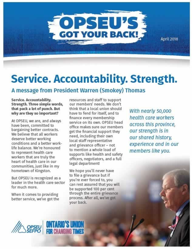 Cover page of OPSEU's got your back newsletter.