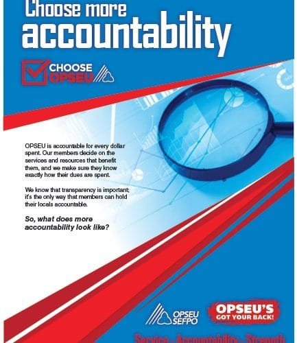 Choose more accountability, choose OPSEU poster.