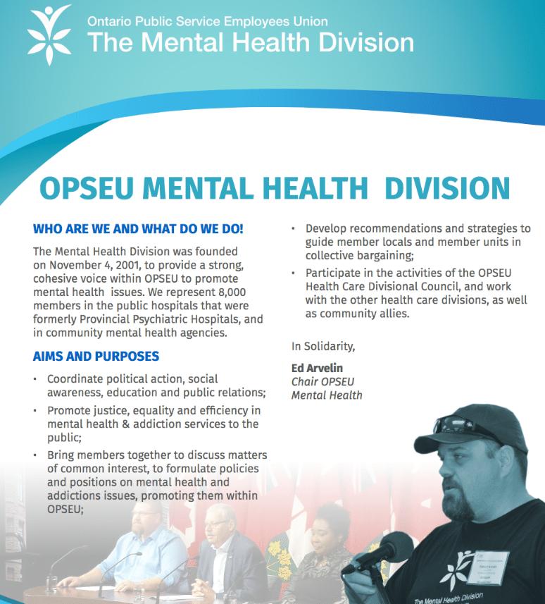 Mental Health Division spring 2018 Newsletter cover