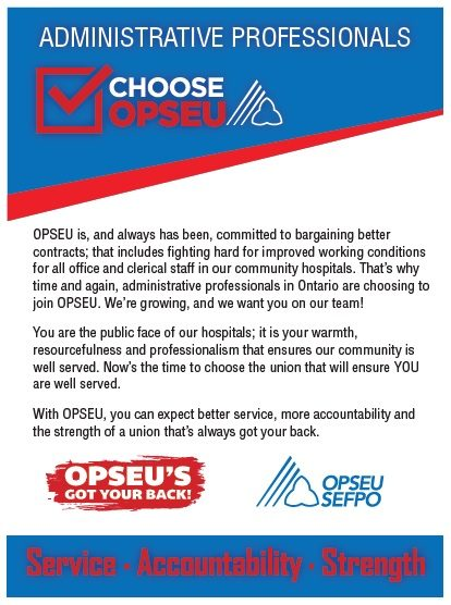 Administrative professionals choose OPSEU poster.
