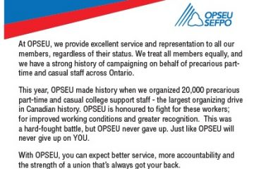Part-time/casual staff guaranteed excellent service and representation with OPSEU
