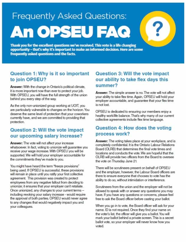 Frequently Asked Questions: An OPSEU FAQ. Cover page.