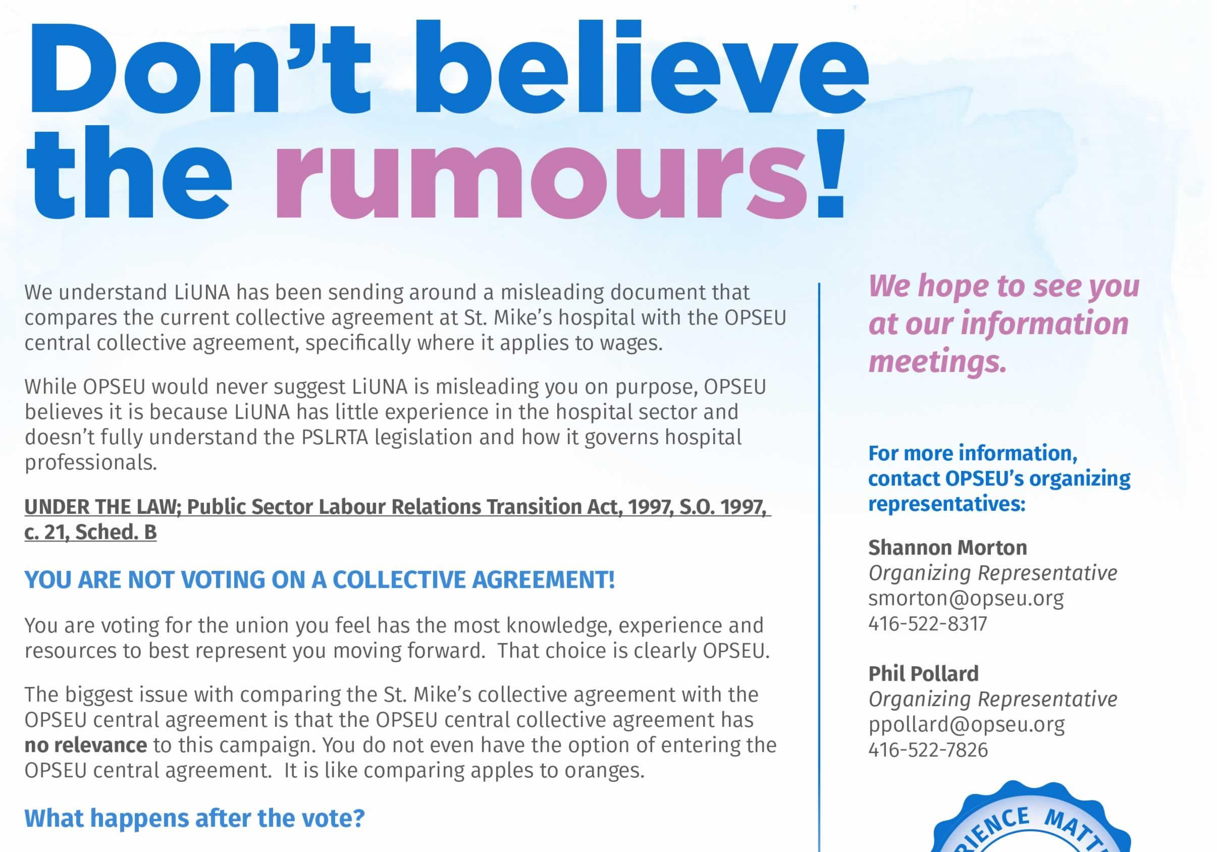 Don't believe the rumours!