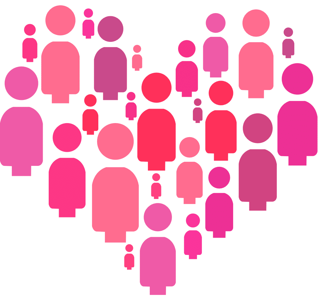 Illustration of a group of women arranged in the shape of a heart.
