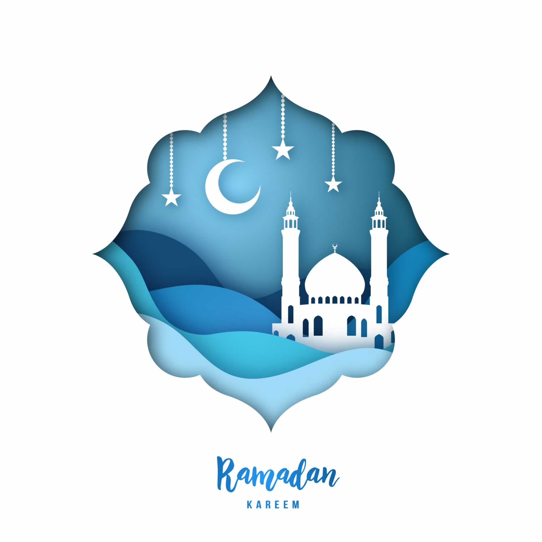 "Illustration of a mosque under a night sky with the text: ""Ramadan kareem"""