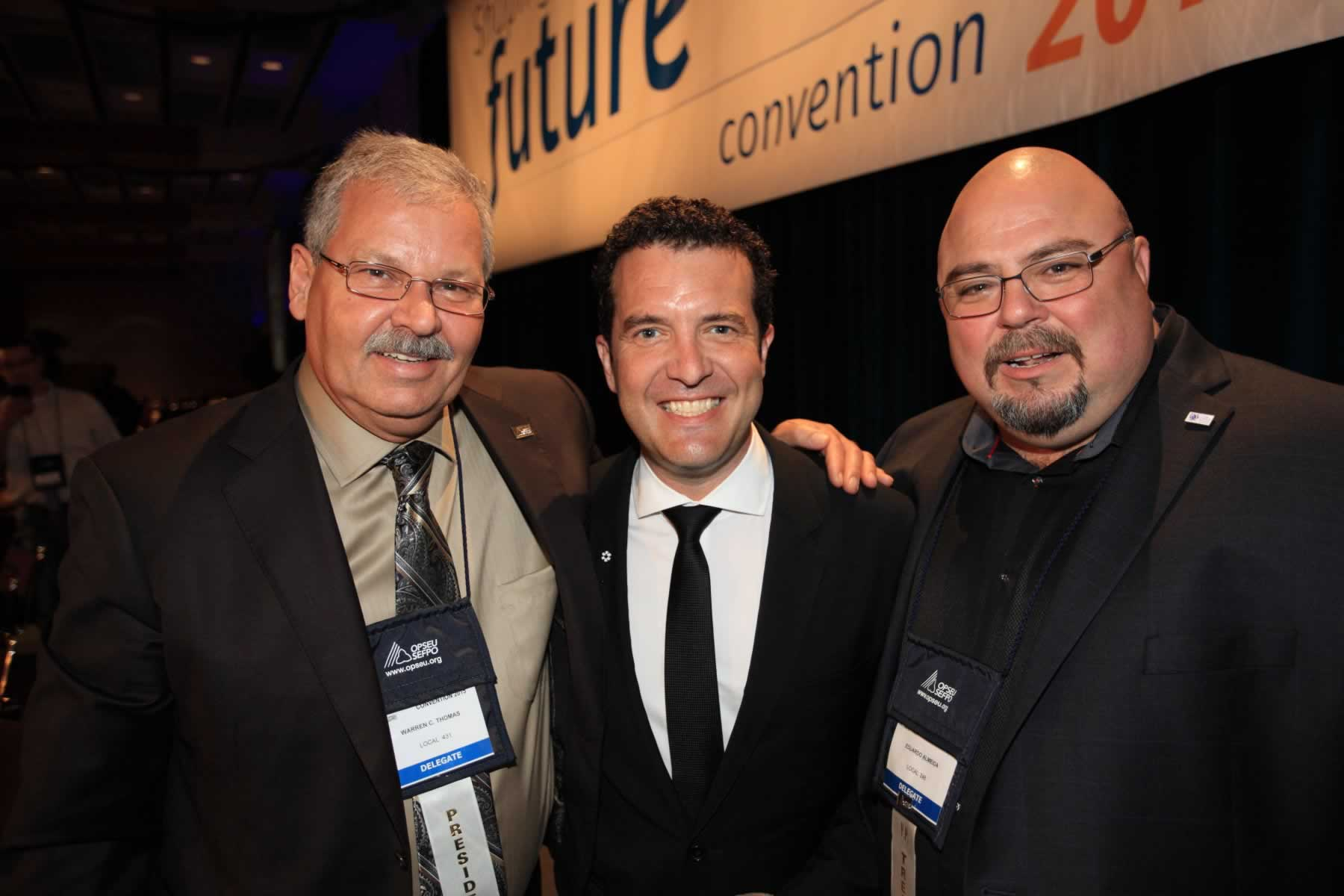 OPSEU President Warren (Smokey) Thomas and First Vice-President/Treasurer Eduardo (Eddy) Almeida with Rick Mercer during Convention 2015