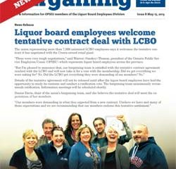 2013 Collective Bargaining: News Alert Issue #8: Liquor board employees welcome tentative contract deal with LCBO
