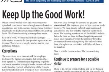 OPS Table Talk 2015 Issue 15 - Keep Up the Good Work