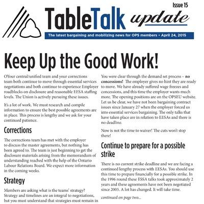 OPS Table Talk, April 24, 2015