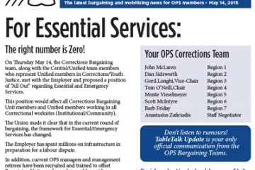 OPS Table Talk 2015 Issue 16 - For Essential Services: The right number is Zero!