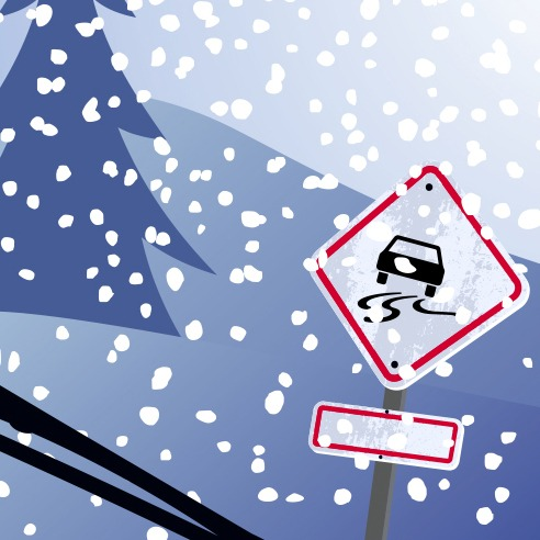 Illustration of car driving in snowy conditions with slippery road warning sign.