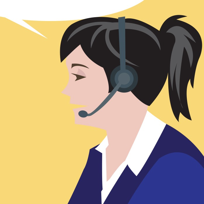 Illustration of a woman wearing a telephone headset