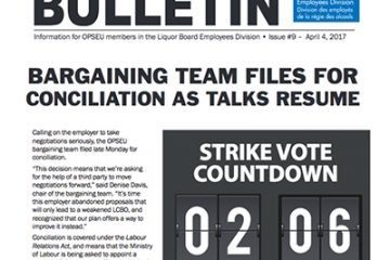 Bargaining team files for conciliation as talks resume - 2017 LBED Bargaining Bulletin, Issue 9