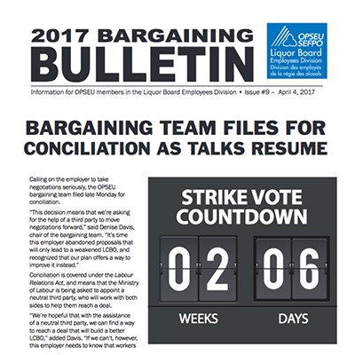 2017 LBED Bargaining Bulletin, Issue 9, April 4, 2017