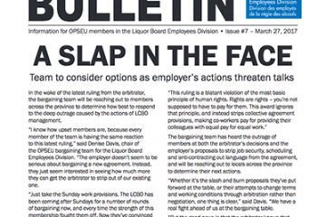 A slap in the face - 2017 LBED Bargaining Bulletin, Issue 7