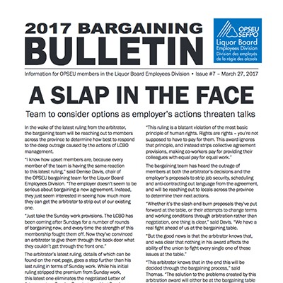 2017 LBED Bargaining Bulletin, Issue 7, March 27, 2017