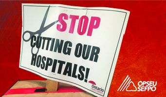 "Illustration of a picket sign that says ""Stop cutting our hospitals!"""