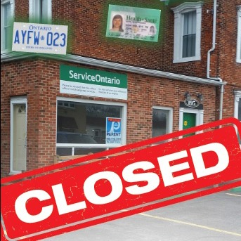 """Closed"" sign superimposed over an image of the Belle River ServiceOntario"