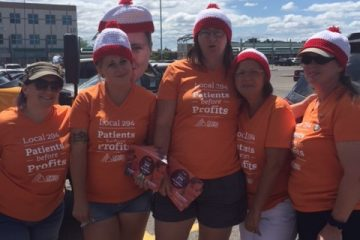 OPSEU members search for Linda Knight on CarePartners provincial day of action