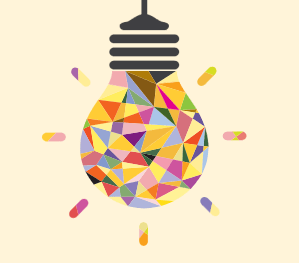 Illustration of a colourful lightbulb