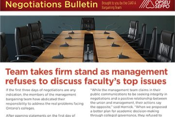 Team takes firm stand as management refuses to discuss faculty's top issues: CAAT-A Negotiations Bulletin, Issue 4