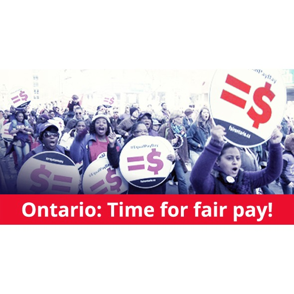 "Large number of women protesting with caption ""Ontario: Time for fair pay!"""