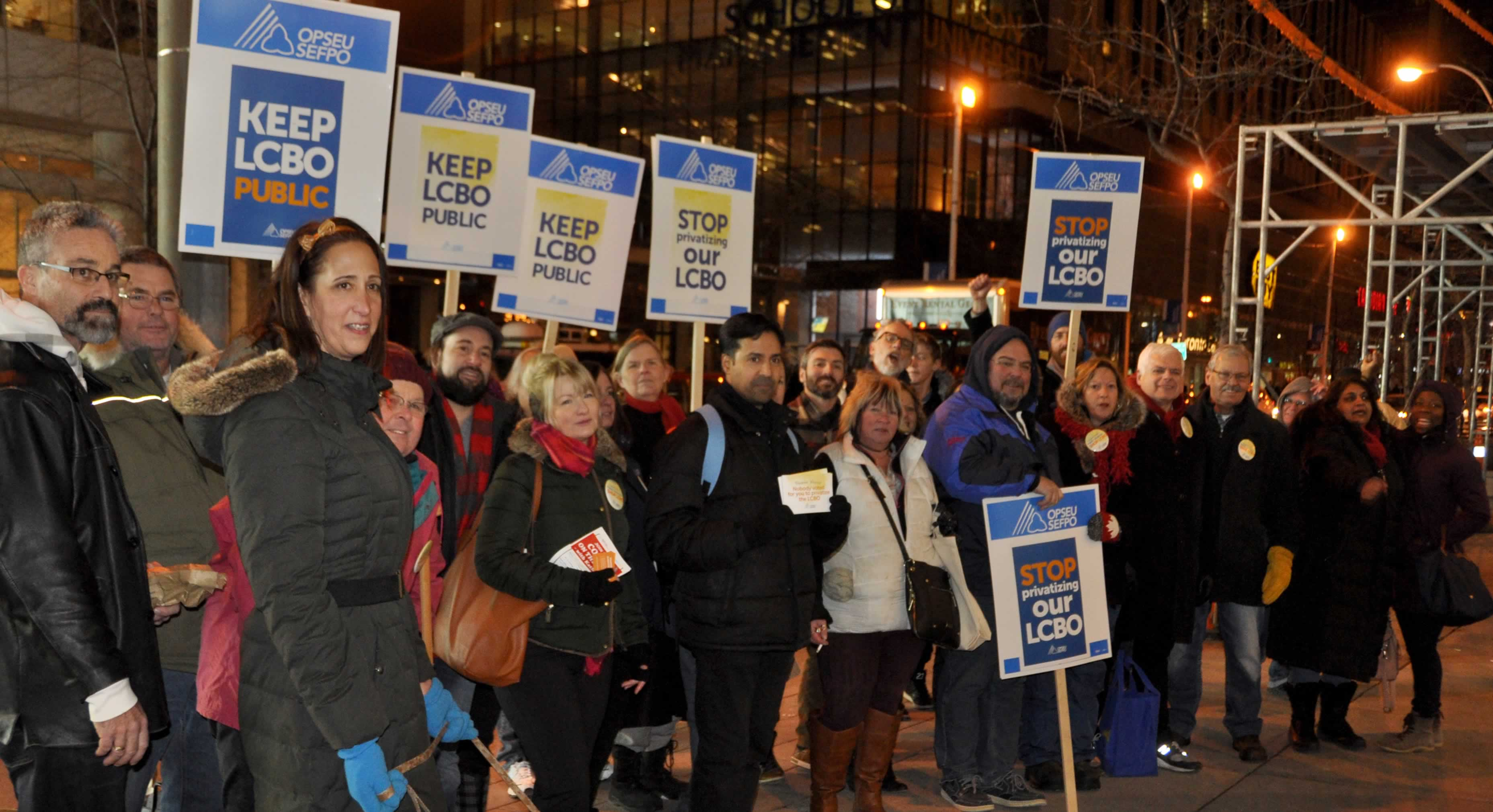 "OPSEU members holding ""Keep LCBO Public"" pickets rally in Toronto."