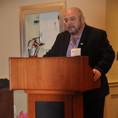 OPSEU First Vice-President/Treasurer Eduardo (Eddy) Almeida opens the breakfast at the lobby day at Queen's Park