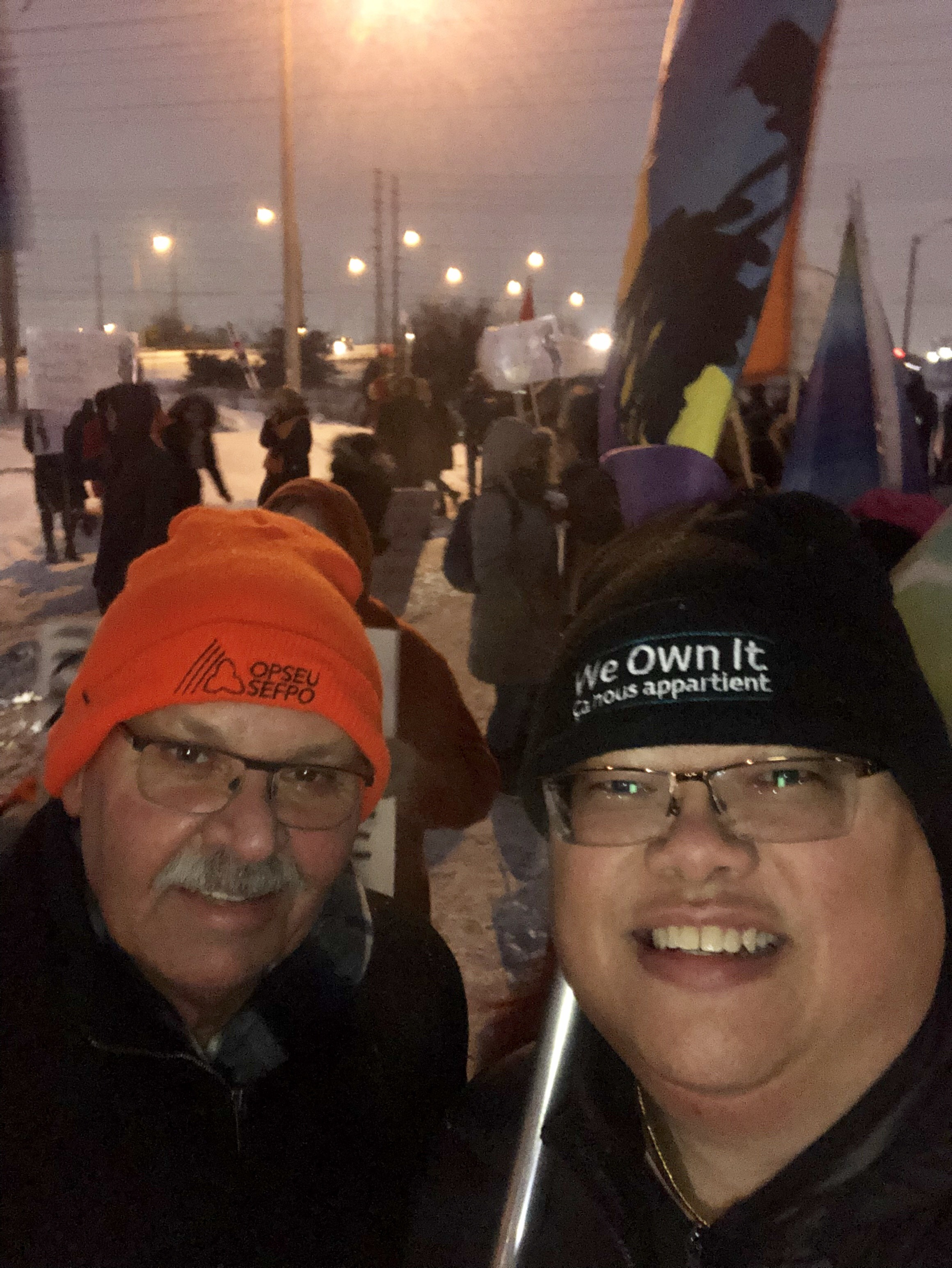 OPSEU President Warren (Smokey) Thomas rallies with OPSEU members outside a Doug Ford fundraiser rally