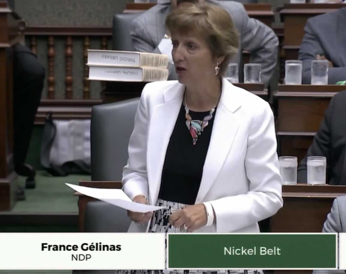 NDP Health Critic Francine Gelinas talks about the Local 276 strike during question period.