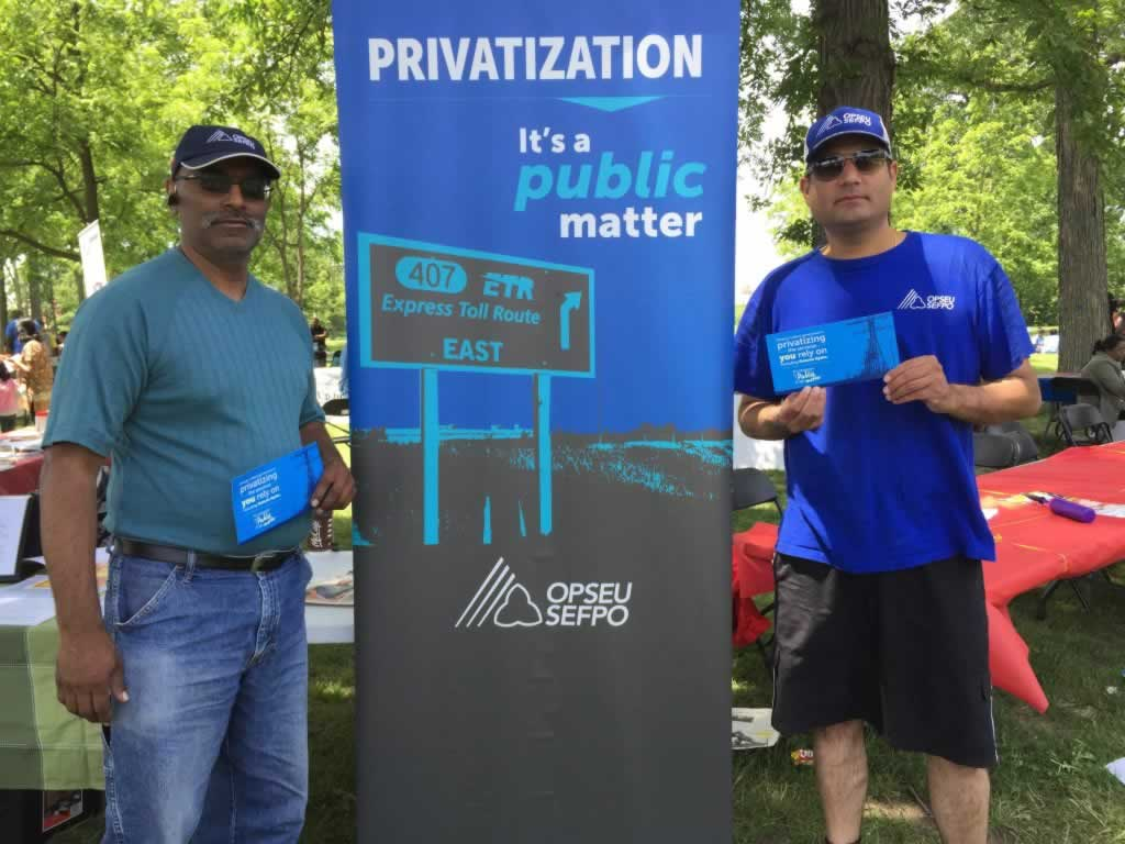 OPSEU members at anti-privatization rally.