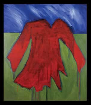 Painting of a red dress.