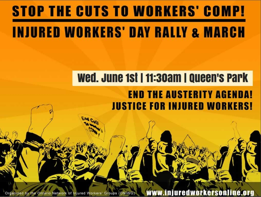 """Illustration of large rally with the text: """"Stop the Cuts to Worker's Compensation - Injured Workers' Day Rally & March"""""""