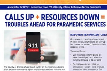Local 256 Brant paramedics: calls up; resources down