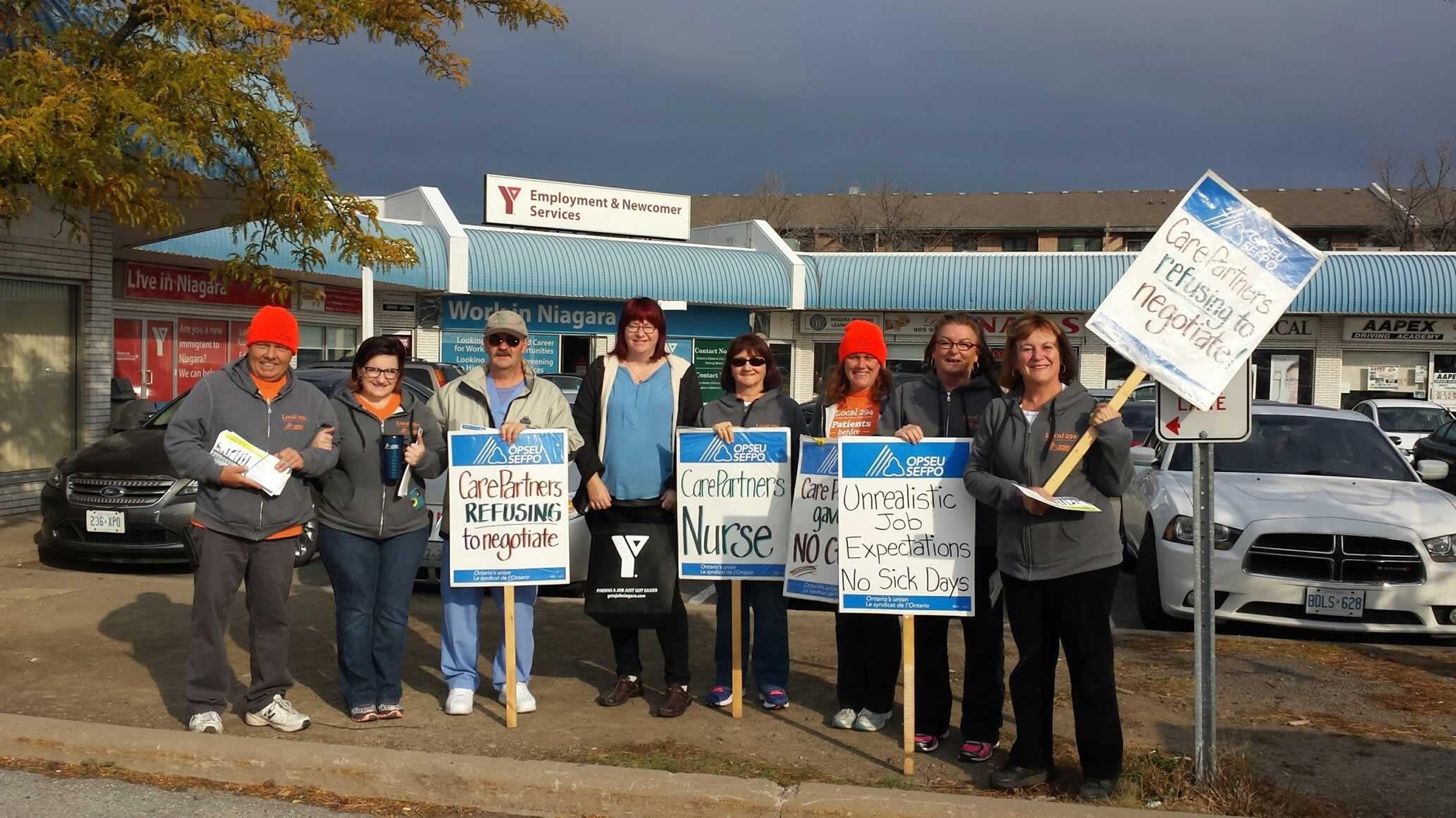 Striking CarePartners nurses picket YMCA job fair in St. Catharines