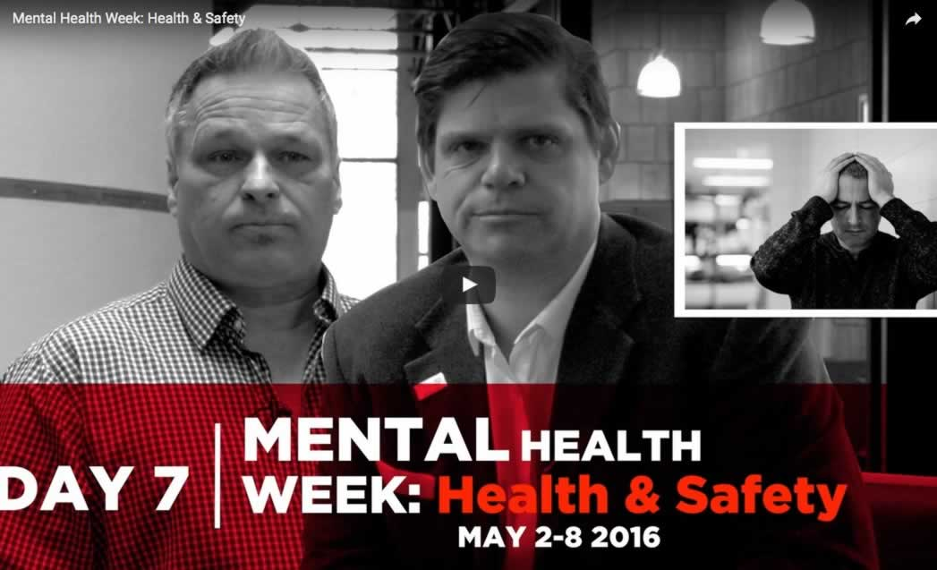 """Collage of OPSEU members and a man holding his head along with the caption: """"Mental Health Week: Health & Safety"""""""