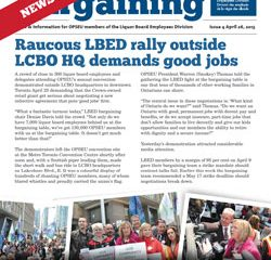 2013 Collective Bargaining: News Alert Issue #4: LBED workers stage loud and proud rally outside LCBO HQ