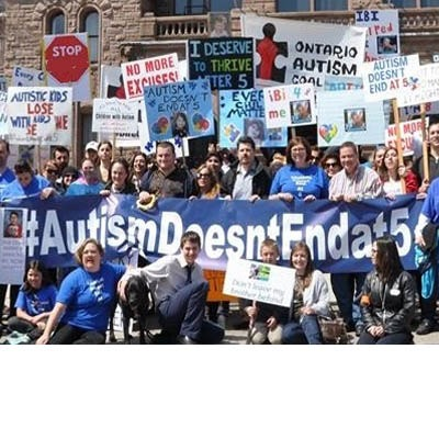 Ontario Autism Coalition protest outside of Queen's Park: Group photo